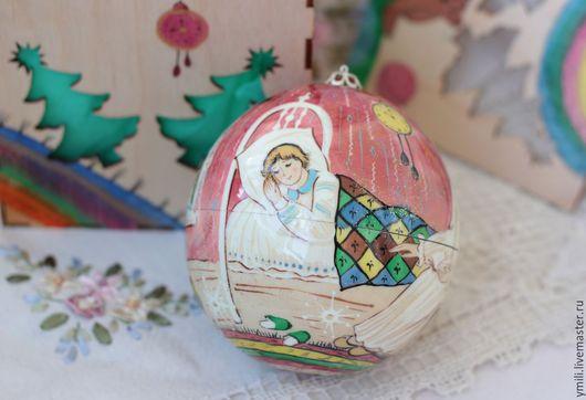 Оригинальные Новогодние подарки, рождественские подарки. Шар с авторской росписью. шар шкатулка. шар с сюрпризом.