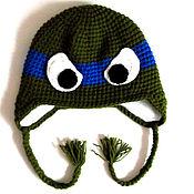 Работы для детей, ручной работы. Ярмарка Мастеров - ручная работа Детская шапочка черепашки ниндзя (шапка теплая зимняя вязаная с ушками. Handmade.