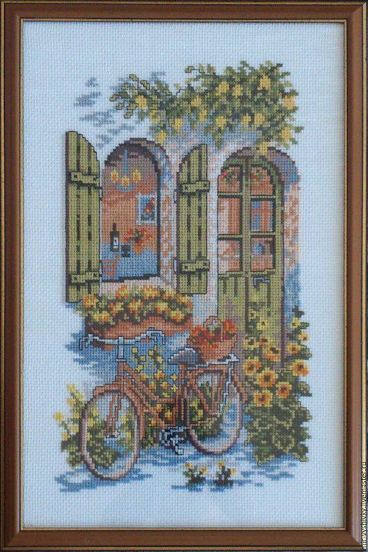 Пейзаж ручной работы. Ярмарка Мастеров - ручная работа. Купить Велосипед у окна. Handmade. Комбинированный, вышивка ручная, счетный крест