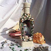 """Подарки к праздникам ручной работы. Ярмарка Мастеров - ручная работа Именная бутылка """"Море, солнце, пляж"""". Handmade."""