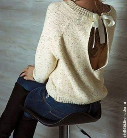 Кофты и свитера ручной работы. Ярмарка Мастеров - ручная работа. Купить Джемпер с разрезом и атласными  лентами на спине (плече). Handmade.