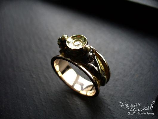 Украшения для мужчин, ручной работы. Ярмарка Мастеров - ручная работа. Купить ''Бессонница''- мужское кольцо с бриллиантом. Handmade. Разноцветный