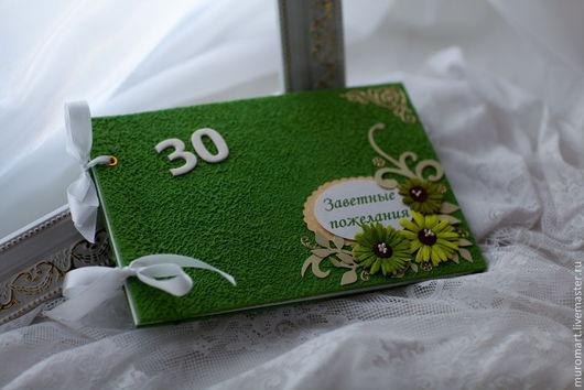 """Свадебные аксессуары ручной работы. Ярмарка Мастеров - ручная работа. Купить Книга пожеланий """"Весна"""". Handmade. Зеленый, картон"""