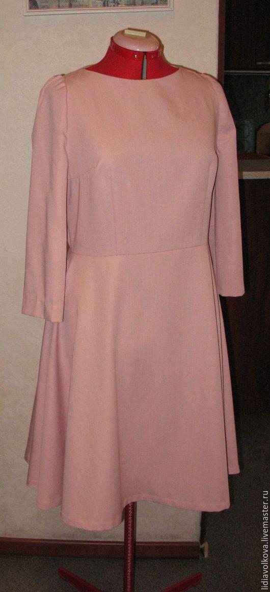 Платья ручной работы. Ярмарка Мастеров - ручная работа. Купить розовое платье с юбкой полусолнце. Handmade. Бледно-розовый, полушерсть