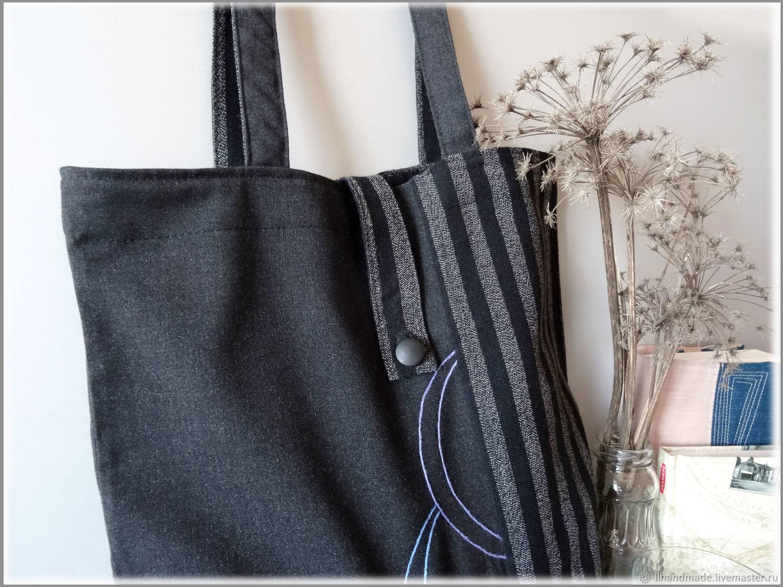"Эко-сумка ""Черная полоска"" - ручная вышивка, авоська"