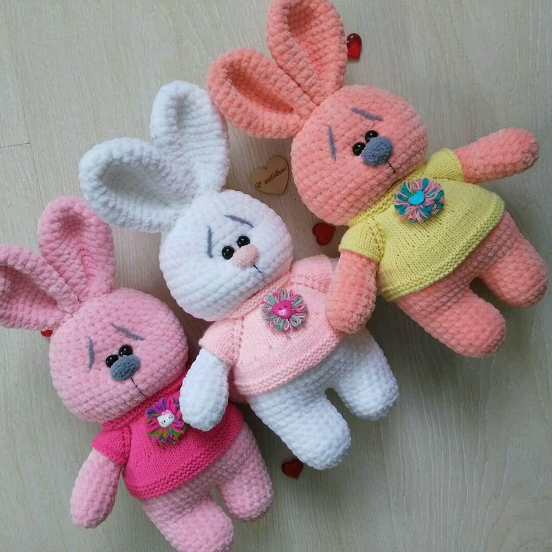 Тройняшки—2,зайцы вязаные, Игрушки животные, Клин, Фото №1
