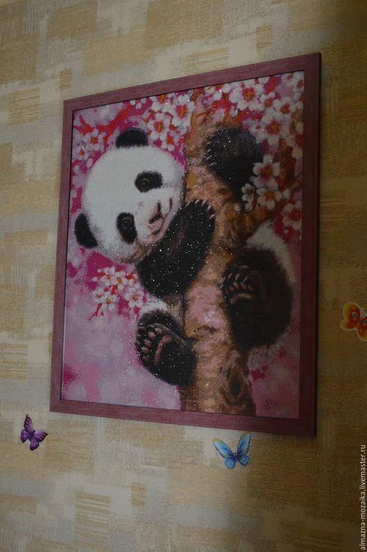 Пейзаж ручной работы. Ярмарка Мастеров - ручная работа. Купить Картина для детской, из страз Панда. Handmade. Картина, КАРТИНА СТРАЗАМИ