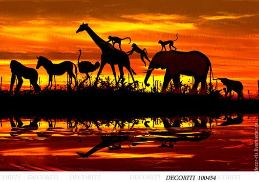Декупаж и роспись ручной работы. Ярмарка Мастеров - ручная работа. Купить Африка - силуэты на закате (D100454) - рисовая бумага, А4. Handmade.
