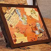 """Для дома и интерьера ручной работы. Ярмарка Мастеров - ручная работа Столик-поднос на подушке """"Кофейный"""". Handmade."""