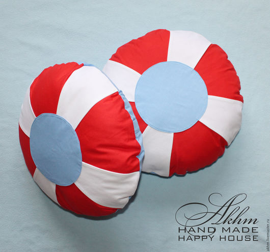 Текстиль, ковры ручной работы. Ярмарка Мастеров - ручная работа. Купить Морские подушки. Спасательный круг. Handmade. Морской стиль