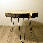 Столы ручной работы. Ярмарка Мастеров - ручная работа Стол из спила с корой в стиле Lofteco. Handmade.