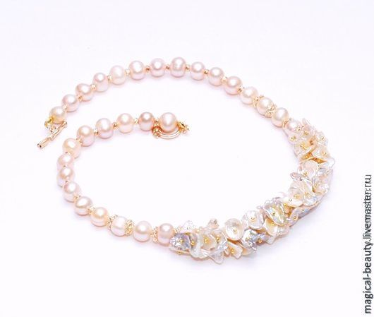 pearl necklace 'peach sunrise', Necklace, Moscow,  Фото №1