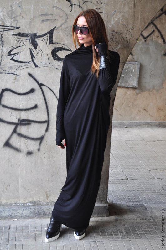 Купить платье. Длинное платье в пол. Черное платье. Платье из хлопка.