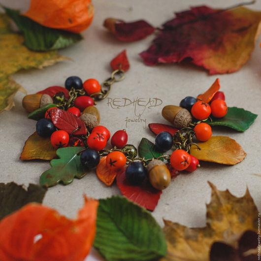 Браслеты ручной работы. Ярмарка Мастеров - ручная работа. Купить Осенний браслет. Handmade. Рыжий, Браслет ручной работы, лес