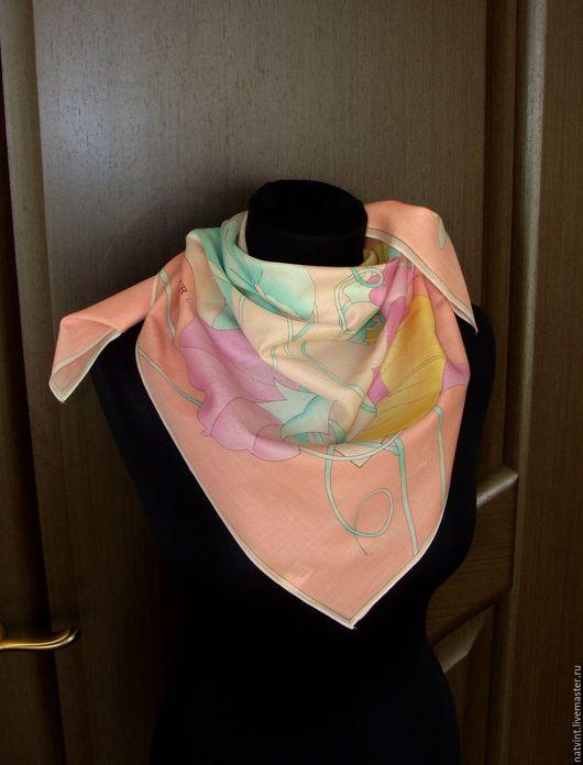 Винтажная одежда и аксессуары. Ярмарка Мастеров - ручная работа. Купить Leonard Paris, винтажный платок из батиста, 1970-е. Handmade.