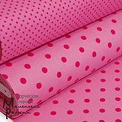 Материалы для творчества ручной работы. Ярмарка Мастеров - ручная работа Поплин горох 2 и 7 мм ярко-розовый на розовом. Handmade.