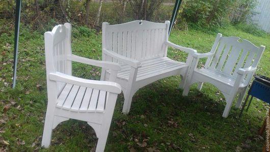 Экстерьер и дача ручной работы. Ярмарка Мастеров - ручная работа. Купить Комплект садовой мебели. Скамья и два кресла в классическом стиле.. Handmade.