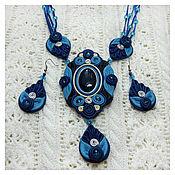 """Украшения ручной работы. Ярмарка Мастеров - ручная работа Комплект из кожи """"Синий-синий иней"""", украшение из кожи с камнем. Handmade."""