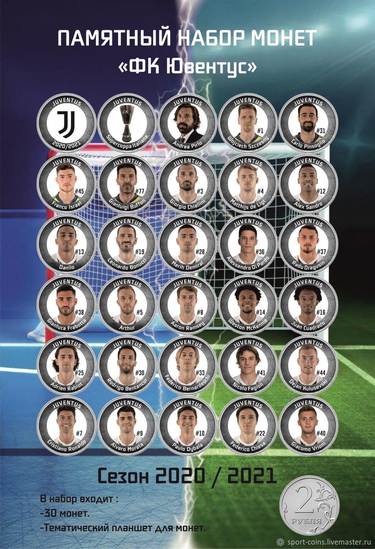 Gift set of coins 'FC Juventus' season 2020-2021, Souvenir coins, Moscow,  Фото №1