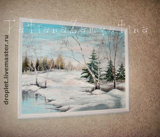 """Пейзаж ручной работы. Ярмарка Мастеров - ручная работа. Купить Картина """"Зима"""". Handmade. Стекло, пейзаж, эксклюзив, картина, рисунок"""