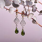 Украшения handmade. Livemaster - original item Stud earrings East with green droplets. Handmade.