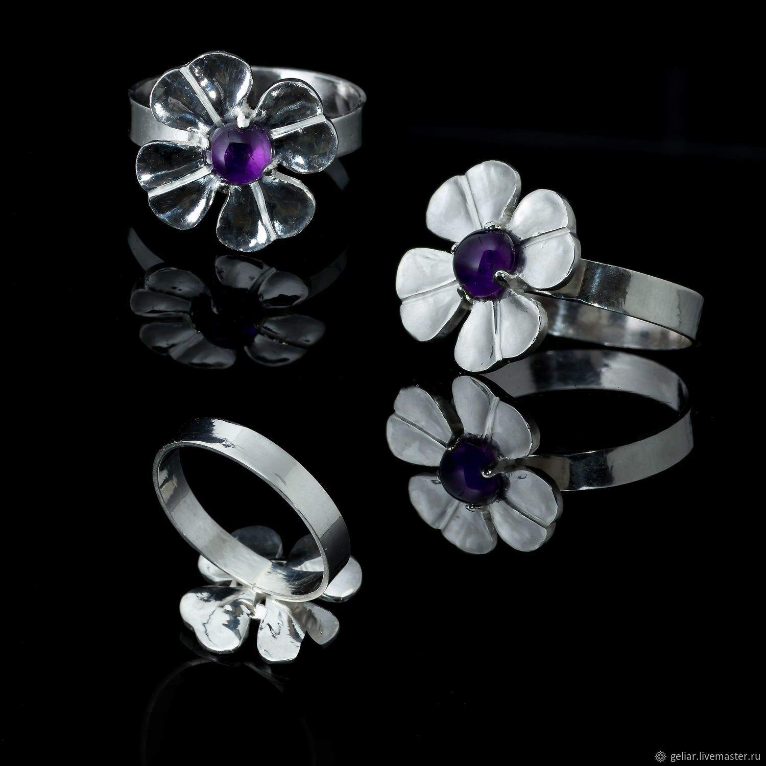 Silver ring with amethyst 'Clover' for good luck, Rings, Tomsk,  Фото №1