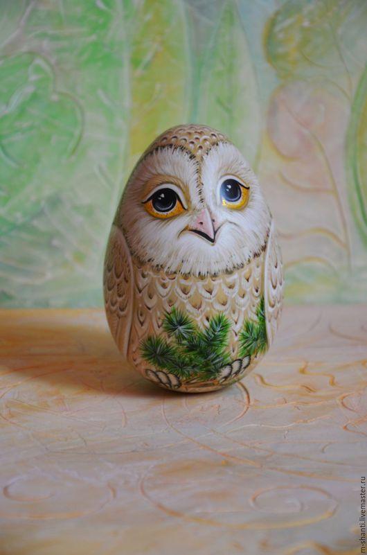 Яйца ручной работы. Ярмарка Мастеров - ручная работа. Купить Неваляшка-яйцо Сова Букля, музыкальная птица, роспись. Handmade.