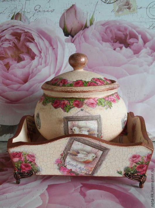 """Кухня ручной работы. Ярмарка Мастеров - ручная работа. Купить Конфетница-хлебница """"Розы к чаю"""". Handmade. Конфетница, подарок, хлебница"""