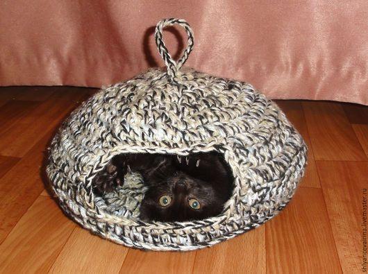 Аксессуары для кошек, ручной работы. Ярмарка Мастеров - ручная работа. Купить Домик для кошки. Handmade. Домик для кошки, Вязание крючком