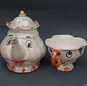 """handmade. Livemaster - original item """"Миссис Поттс и Чип"""" .Чайник и чашка. Handmade."""