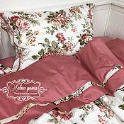 """Комплекты постельного белья ручной работы. Ярмарка Мастеров - ручная работа Комплект постельного белья """"Розарий"""" с клапаном и кантом полутораспаль. Handmade."""