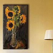 Картины и панно ручной работы. Ярмарка Мастеров - ручная работа Картина с цветами масло «Подсолнухи в вазе». Handmade.