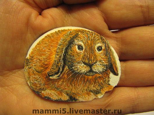 Роспись по камню ручной работы. Ярмарка Мастеров - ручная работа. Купить Кроль ушастый.Миниатюра на камне.. Handmade. Рыжий