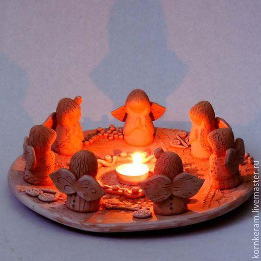 """Подсвечники ручной работы. Ярмарка Мастеров - ручная работа. Купить Подсвечник """"Молитва"""". Handmade. Рыжий, ангел-хранитель, рождество, семья"""