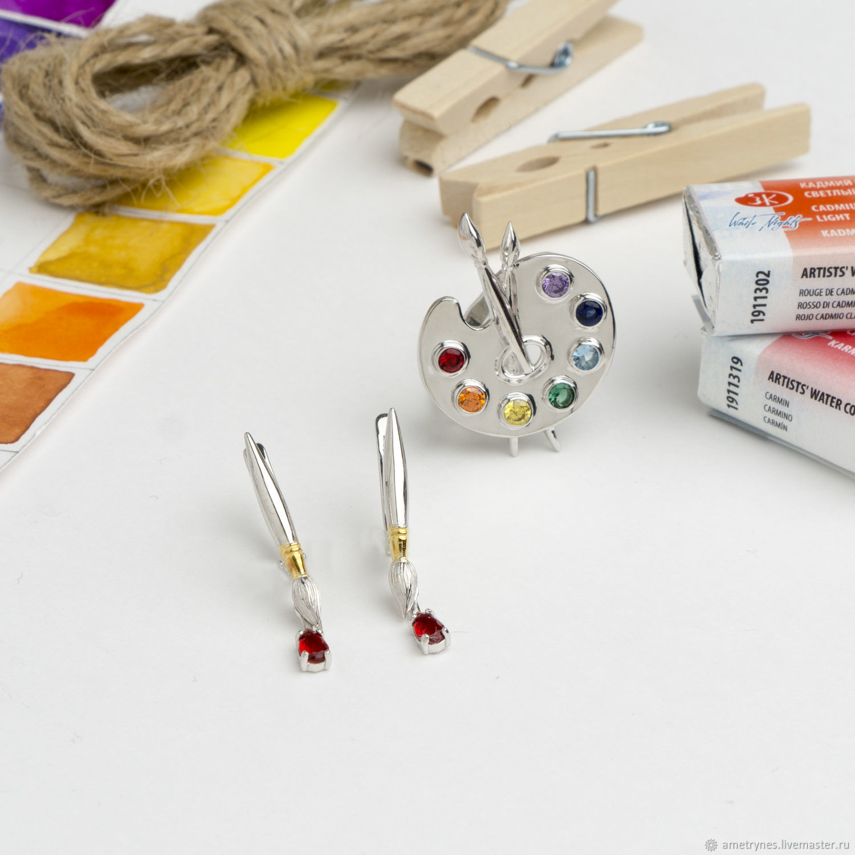 Jewelry sets: Set ring Palette earrings Tassels, Jewelry Sets, Kostroma,  Фото №1