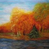 """Картины и панно ручной работы. Ярмарка Мастеров - ручная работа Шерстяная картина """"Золотая осень"""". Handmade."""