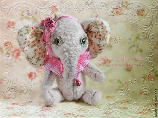 Мишки Тедди ручной работы. Ярмарка Мастеров - ручная работа. Купить Коллекционный слоник Варенька. Handmade. Бледно-розовый