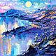 """Пейзаж ручной работы. Ярмарка Мастеров - ручная работа. Купить """"Берега Моих Снов"""" - мистическая картина с горами и озером. Handmade."""