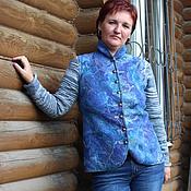 """Одежда ручной работы. Ярмарка Мастеров - ручная работа Жакет валяный с вязаными  """"В синем море, в белой пене"""". Handmade."""