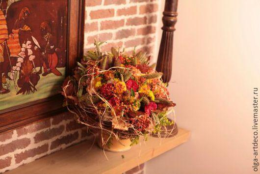 Букеты ручной работы. Ярмарка Мастеров - ручная работа. Купить букет из живых цветов. Handmade. Рыжий, рафия, роза, каркас