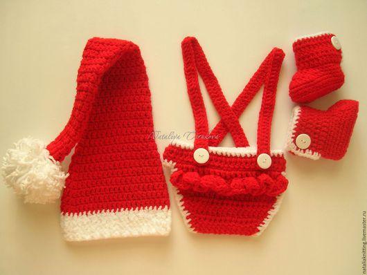 """Для новорожденных, ручной работы. Ярмарка Мастеров - ручная работа. Купить """"Помощница Санты"""". Handmade. Ярко-красный, колпак"""