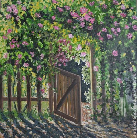 """Картины цветов ручной работы. Ярмарка Мастеров - ручная работа. Купить Картина """"Калитка"""". Handmade. Ярко-зелёный, цветы, розы"""