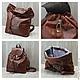 кожаный рюкзак коричневый, кожаный рюкзак рыжий, Ирина Болдина, кожаный рюкзак в городском стиле