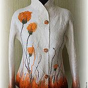Одежда ручной работы. Ярмарка Мастеров - ручная работа Жакет валяный Оранжевые маки. Handmade.