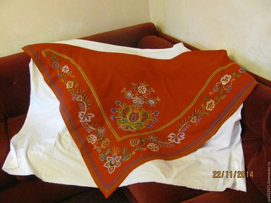 Шали, палантины ручной работы. Ярмарка Мастеров - ручная работа. Купить шаль в стиле Барановского платка. Handmade. Ярко-красный