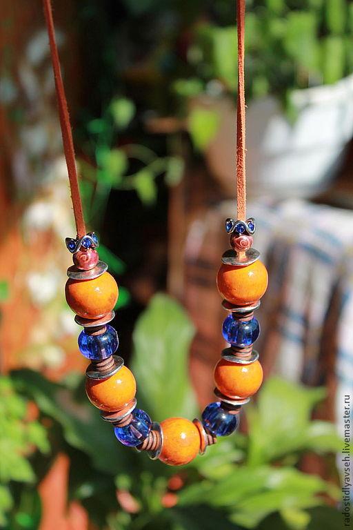 """Колье, бусы ручной работы. Ярмарка Мастеров - ручная работа. Купить Колье """"Впечатления"""". Handmade. Колье, оранжевый цвет"""