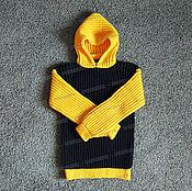 Одежда ручной работы. Ярмарка Мастеров - ручная работа Свитер черно-желтый из акрила. Handmade.