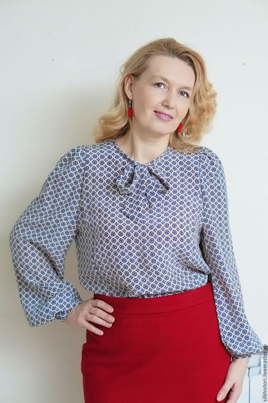 Блузки ручной работы. Ярмарка Мастеров - ручная работа. Купить Блузка из шелка , блузка Юлия. Handmade. Бежевый, Блузка с бантом