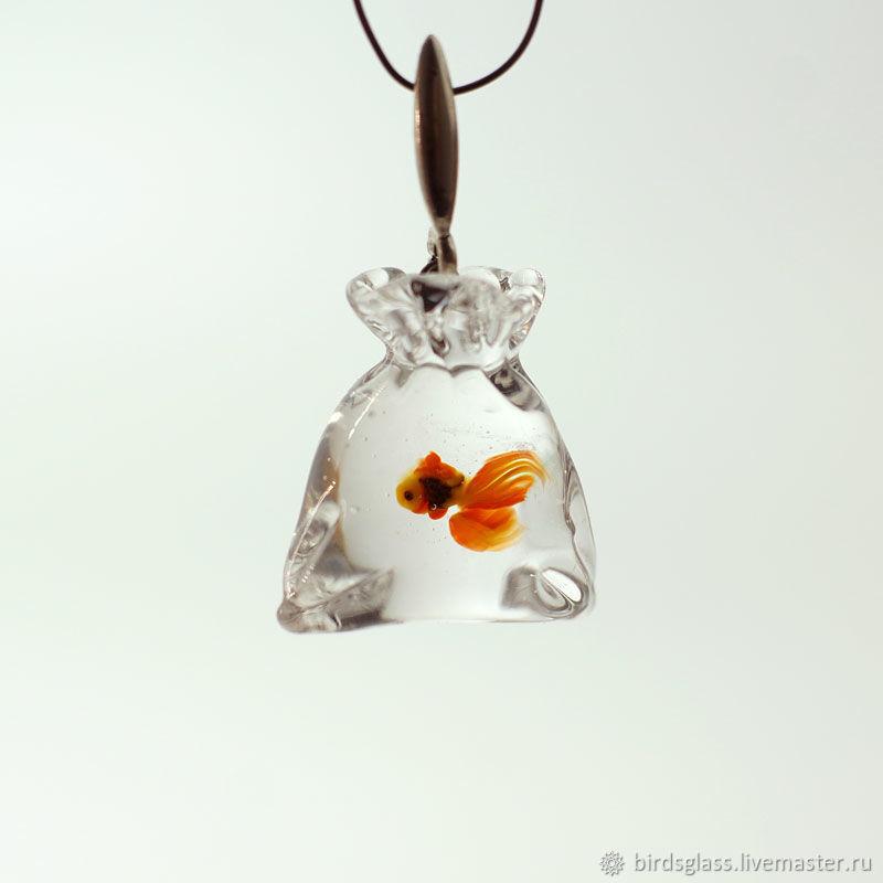 "Кулон "" Золотая рыбка в пакетике"", подвес, Подвеска, Санкт-Петербург,  Фото №1"