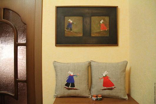 Текстиль, ковры ручной работы. Ярмарка Мастеров - ручная работа. Купить Льняная вышитая  подушка  «Наконец-то мы увидимся!». Handmade.